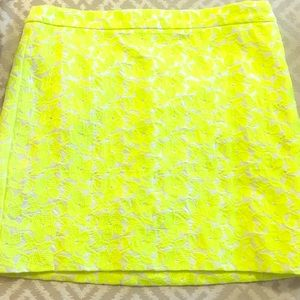 NWT J-CREW skirt neon Yellow and white size 6 new